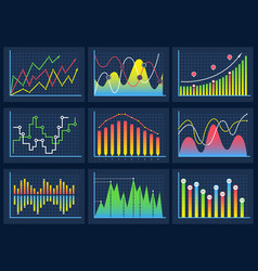 line charts modern infographic set diagrams vector image