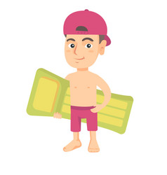little caucasian boy holding inflatable mattress vector image