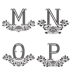 m n o p vintage monograms in floral wreaths vector image