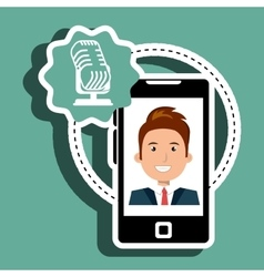 Man cartoon smartphone microphone vector