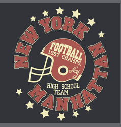 manhattan t-shirt graphics new york athletic vector image