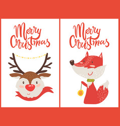 merry christmas color set postcards deer and fox vector image
