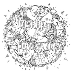 Merry christmas set of xmas monochrome pattern vector