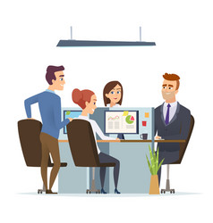 office workplace team business managers male and vector image
