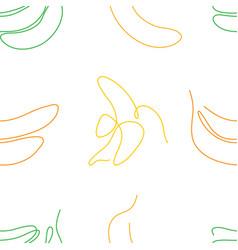 One line art style banana seamless pattern vector