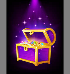 open purple chest with golden coins and jewelry vector image