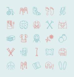 Orthopedic trauma rehabilitation line icons vector