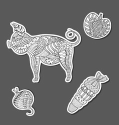 Patterned grayscale pig and veg made as stickers vector