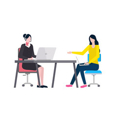 people at work secretary and agent working ladies vector image