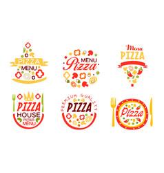 pizza house premium menu labels collection fast vector image