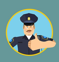 Police thumbs up Signs all right cheerful Kop vector image