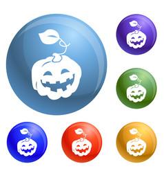 pumpkin icons set vector image