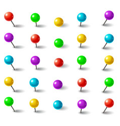 Realistic 3d color plastic push pins with round vector