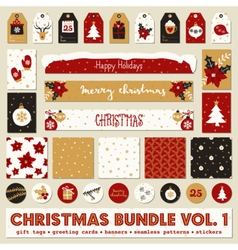 red white gold christmas printable papers bundle vector image