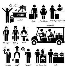 Resort villa hotel tourist worker and services vector