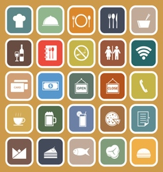 Restaurant flat icons on brown background vector