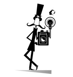 retro photographer man black on white isolated vector image
