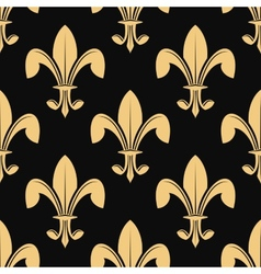Seamless pattern of classical golden fleur de lys vector