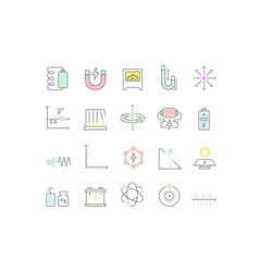 Set line icons physics vector