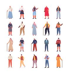 Set mix race old women men in casual trendy vector