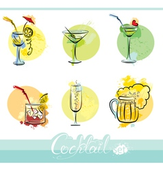 Set of alkohol drinks images in grunge style vector