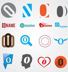 Set of alphabet symbols of letter O vector image