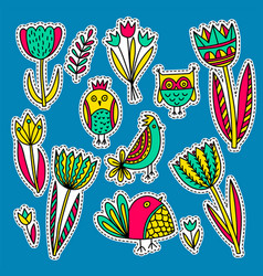 set of cute birds and tulips in doodle style vector image