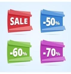 set paper style discount banners vector image