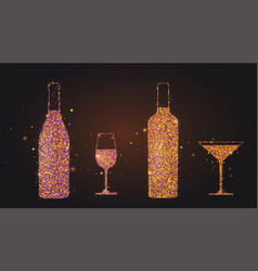 set silhouettes wine glasses and bottles on vector image
