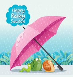 Snail frog and worm under umbrella on ground vector