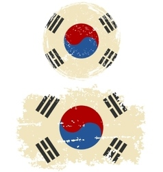 South Korean round and square grunge flags vector image