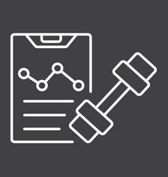 Sport training program line icon fitness vector
