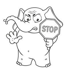 Stop sign holds in hands warning displeased vector