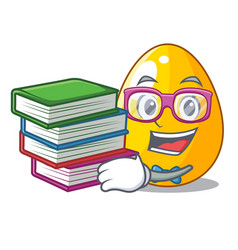 Student with book golden egg with cartoon shape vector