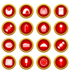 Sweets and candies icon red circle set vector