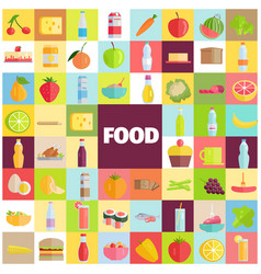 Tasty food grocery products and refreshing drinks vector