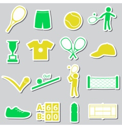 tennis sport theme color stickers set eps10 vector image