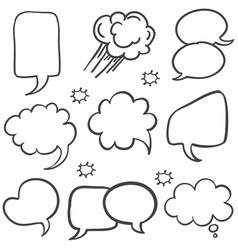 Text balloon style hand draw collection vector