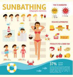 The girl sunbathes on the beach and tanning summer vector