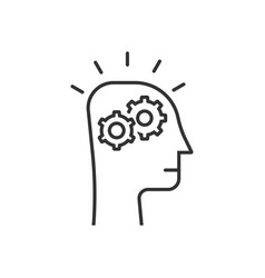 Thin line thinking process in black human head vector