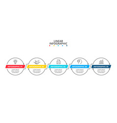 Timeline with 5 circle linear connected elements vector