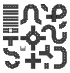top view road elements street junction and roads vector image