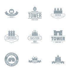 Tower castle logo set simple style vector