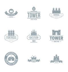 Tower castle logo set simple style vector