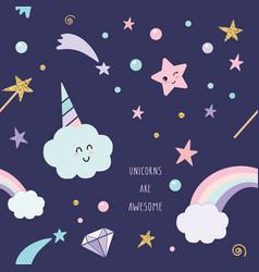 Unicorn magic seamless pattern background vector