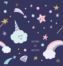 Unicorn magic seamless pattern background with vector