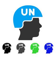 United nations soldier helmet flat icon vector