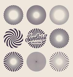 vintage sunburst collection bursting sun rays vector image