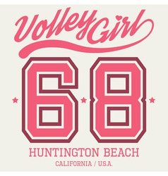 Volley Girl T-shirt Typography vector image vector image