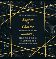 Wedding invitation with gold geometric frame vector